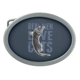 Real Men Love Cats on blue steel Oval Belt Buckle