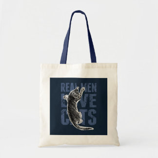 Real Men Love Cats on blue steel Tote Bag
