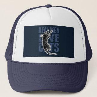 Real Men Love Cats on blue steel Trucker Hat