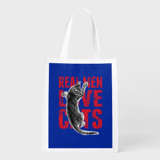 Real Men Love Cats Reusable Grocery Bag
