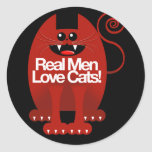 REAL MEN LOVE CATS ROUND STICKERS