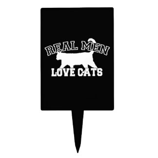 Real Men Love Cats Silhouette Cake Topper