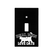 Real Men Love Cats Silhouette Light Switch Cover