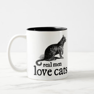 Real Men Love Cats Two-Tone Coffee Mug