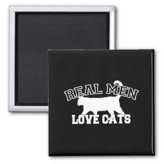 Real Men Love Cats White Silhouette Magnet