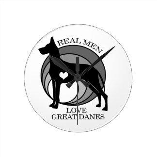 Real Men Love Great Danes Round Clock