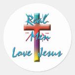 REAL MEN LOVE JESUS CLASSIC ROUND STICKER