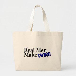 Real Men Make Twins (B) Large Tote Bag