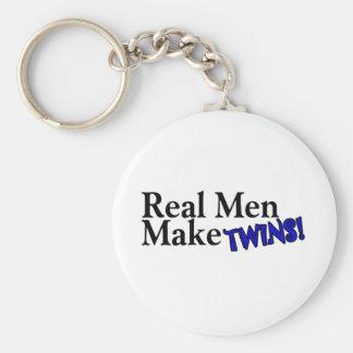 Real Men Make Twins Blue Basic Round Button Keychain