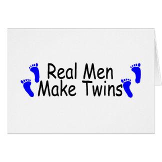 Real Men Make Twins Blue Footprints Cards