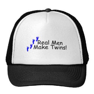 Real Men Make Twins Boy Blue Footprints Hats