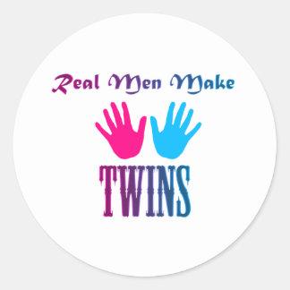 Real Men Make Twins (Boy/Girl) Classic Round Sticker