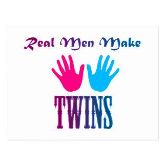 Real Men Make Twins (Boy/Girl) Postcard