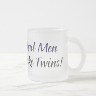 Real Men Make Twins Frosted Glass Coffee Mug
