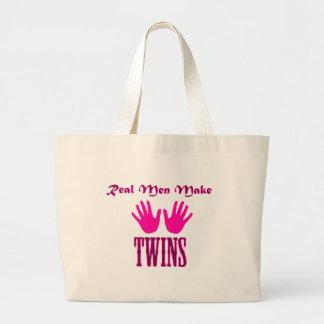 Real Men Make Twins (Girl/Girl) Tote Bags