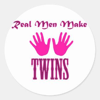 Real Men Make Twins (Girl/Girl) Classic Round Sticker
