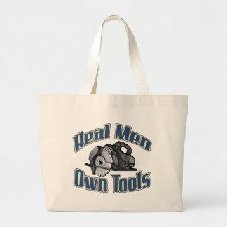 Real men own tools large tote bag