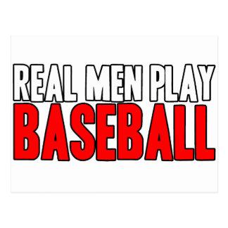 Real Men Play Baseball Postcard