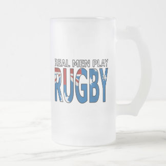 Real Men Play Rugby Australia 16 Oz Frosted Glass Beer Mug