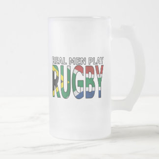Real Men play Rugby South Africa Frosted Glass Beer Mug