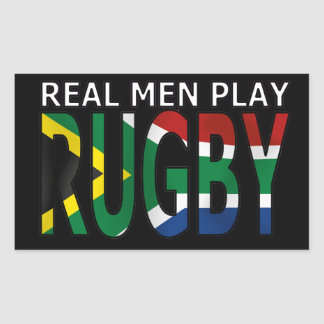 Real Men play Rugby South Africa Rectangular Sticker
