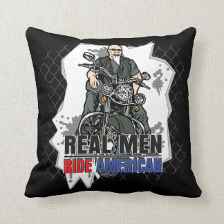 Real Men Ride American Bikes Decorative Pillow Pillows