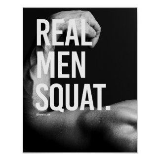 Real men squat -   Guy Fitness -.png Poster