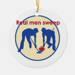 Real Men Sweep! Curling Double-Sided Ceramic Round Christmas Ornament