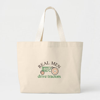 Real Men Tractor Large Tote Bag