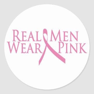 real men wear pink 2009 round sticker