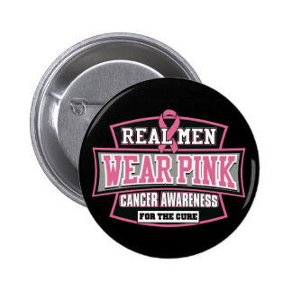 REAL Men Wear Pink For The Cure Breast Cancer Button