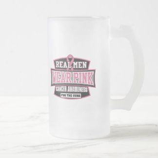 REAL Men Wear Pink For The Cure Breast Cancer Frosted Glass Beer Mug