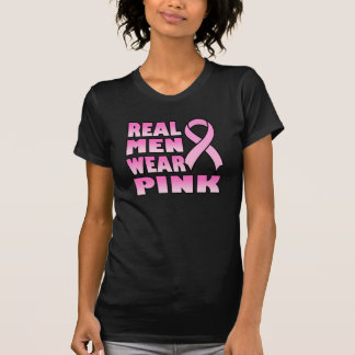 real men wear pink Ladies Black T-Shirt