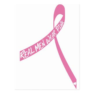 real men wear pink ribbon postcard