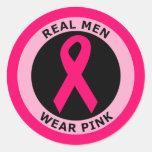 REAL MEN WEAR PINK ROUND STICKER