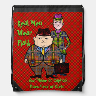Real Men Wear Plaid - Humorous, Retro Design Drawstring Backpack