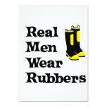 "Real Men Wear Rubbers 5"" X 7"" Invitation Card"