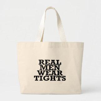 Real men wear tights large tote bag