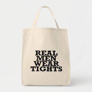 Real men wear tights tote bag