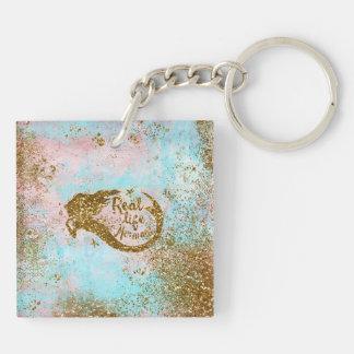 Real Mermaid Life- Glitter Gold Mermaid Keychain