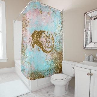 Real Mermaid Life  Glitter Gold Mermaid Shower Curtain
