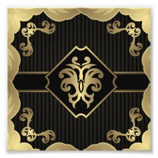 real, oro, flor de lis, modelo, en el negro, cojinete
