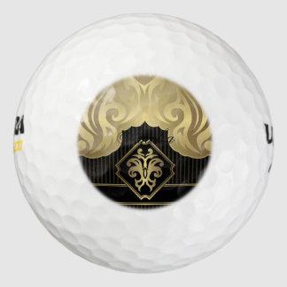 real, oro, flor de lis, modelo, en el negro, pack de pelotas de golf