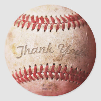 Real Photo Weathered Baseball Thank You Stickers