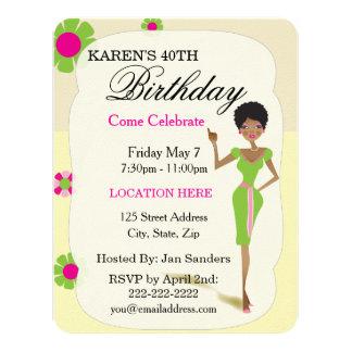 "Real Pretty Girls Birthday Party Invitations 4.25"" X 5.5"" Invitation Card"