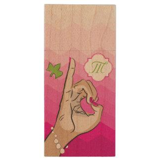 Real Pretty Pink Green Loves Wood USB Flash Drive