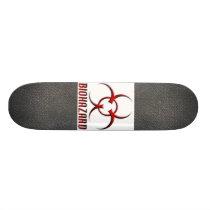 Real RAW Carbon Fiber Textured Biohazard Symbol Skateboard Deck