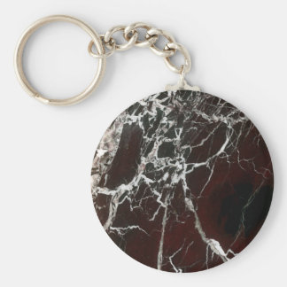 Real red marble keychain