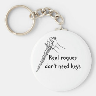Real rogues don't need keys basic round button keychain