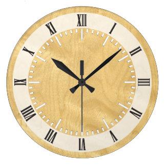 Real Scanned Birds Eye Maple Veneer Woodgrain Large Clock